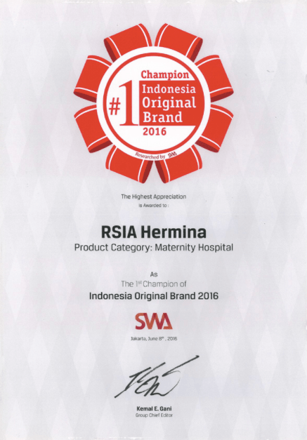 Hermina Award SWA #1 Champion Indonesia Original Brand - 2016
