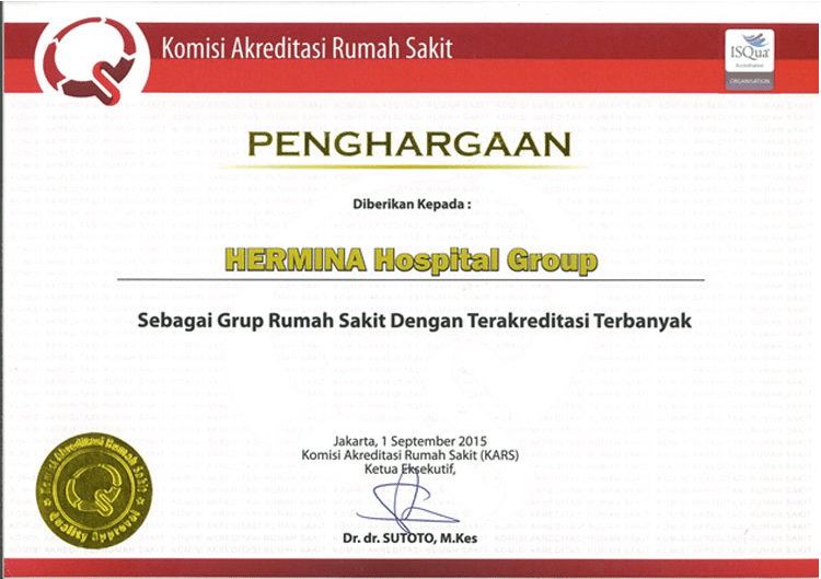 Hermina Award KARS Hospital Group with The Most Accreditation - 2015