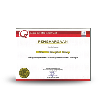Hermina Award Hospital Group with The Most Accreditation